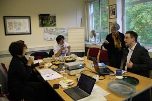JK discussing cultura regeneration with visiting academics