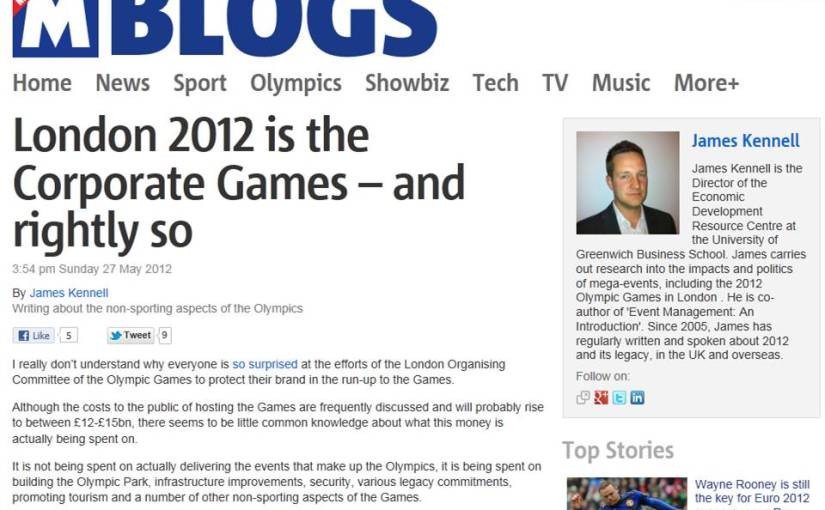 Blogging for the Metro Newspaper on the 2012Olympics